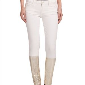 Paige Verdugo Cream + Gold Dip-Dye Skinny Jeans